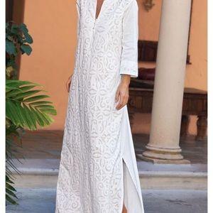 Soft Surroundings White Dress PXS Pheasant Long